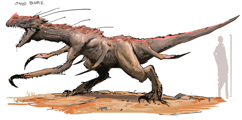 Early on explorations of the monster-dinosaur scale for our enemies